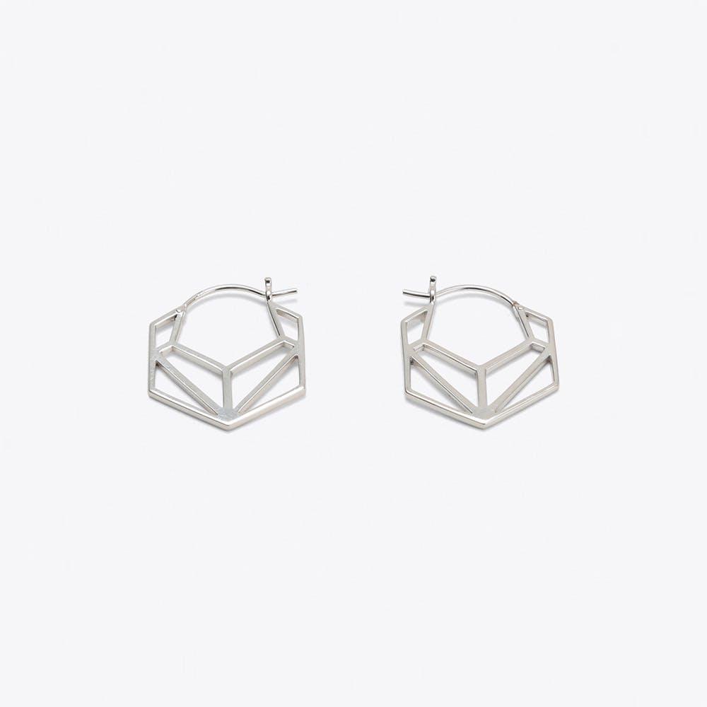 Geometric Hexagonal Hoop Earrings in Silver