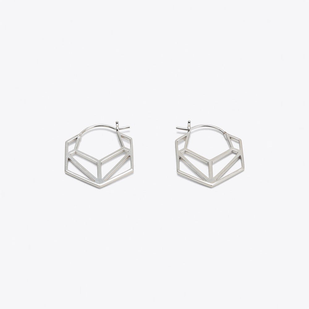 Geometric Hexagonal Hoop Earrings in Silver