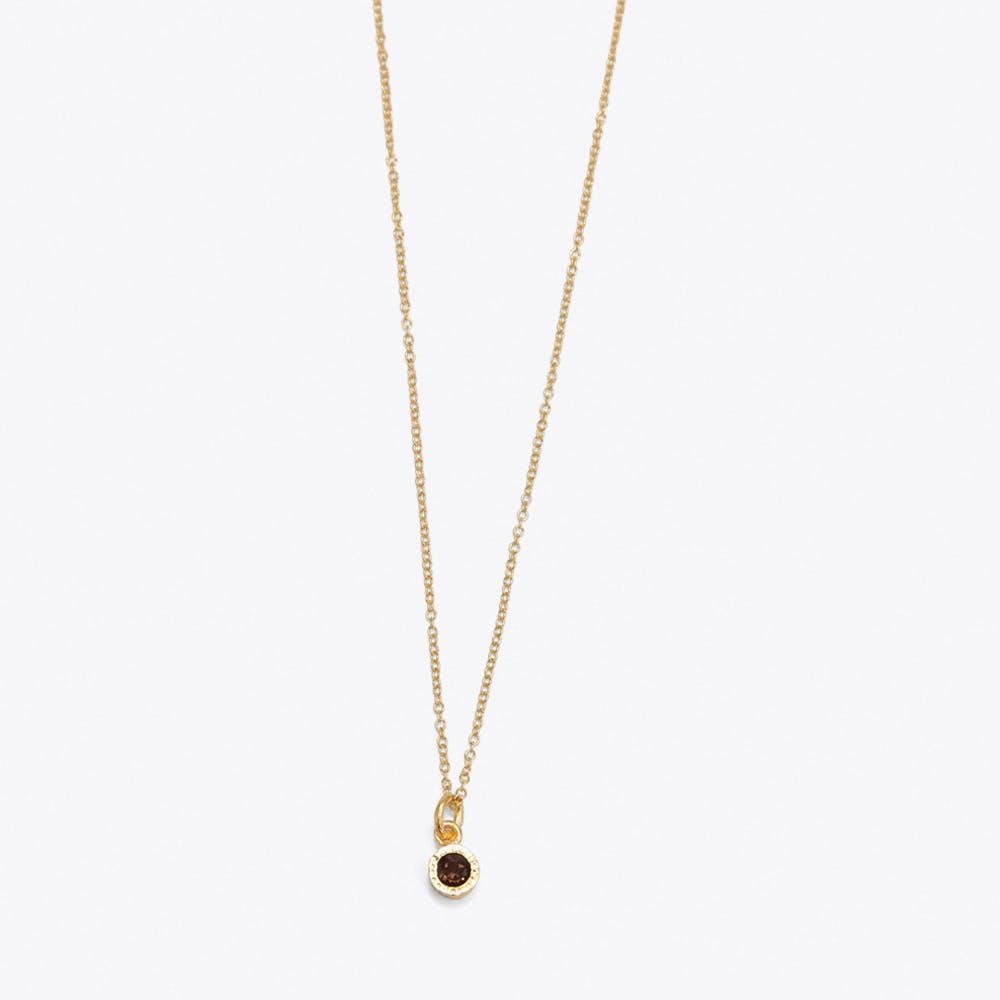 Smokey Quartz Dot Necklace in Gold