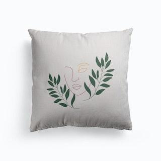 Leaf The Girl Canvas Cushion