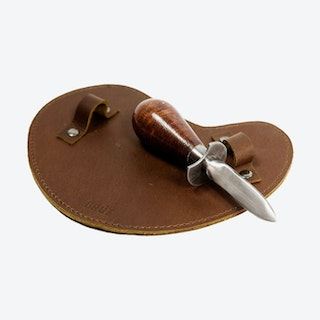 Oyster Knife with leather glove