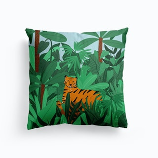 Tiger In The Jungle Canvas Cushion