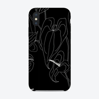 Black And White Linear Anthurium  Phone Case