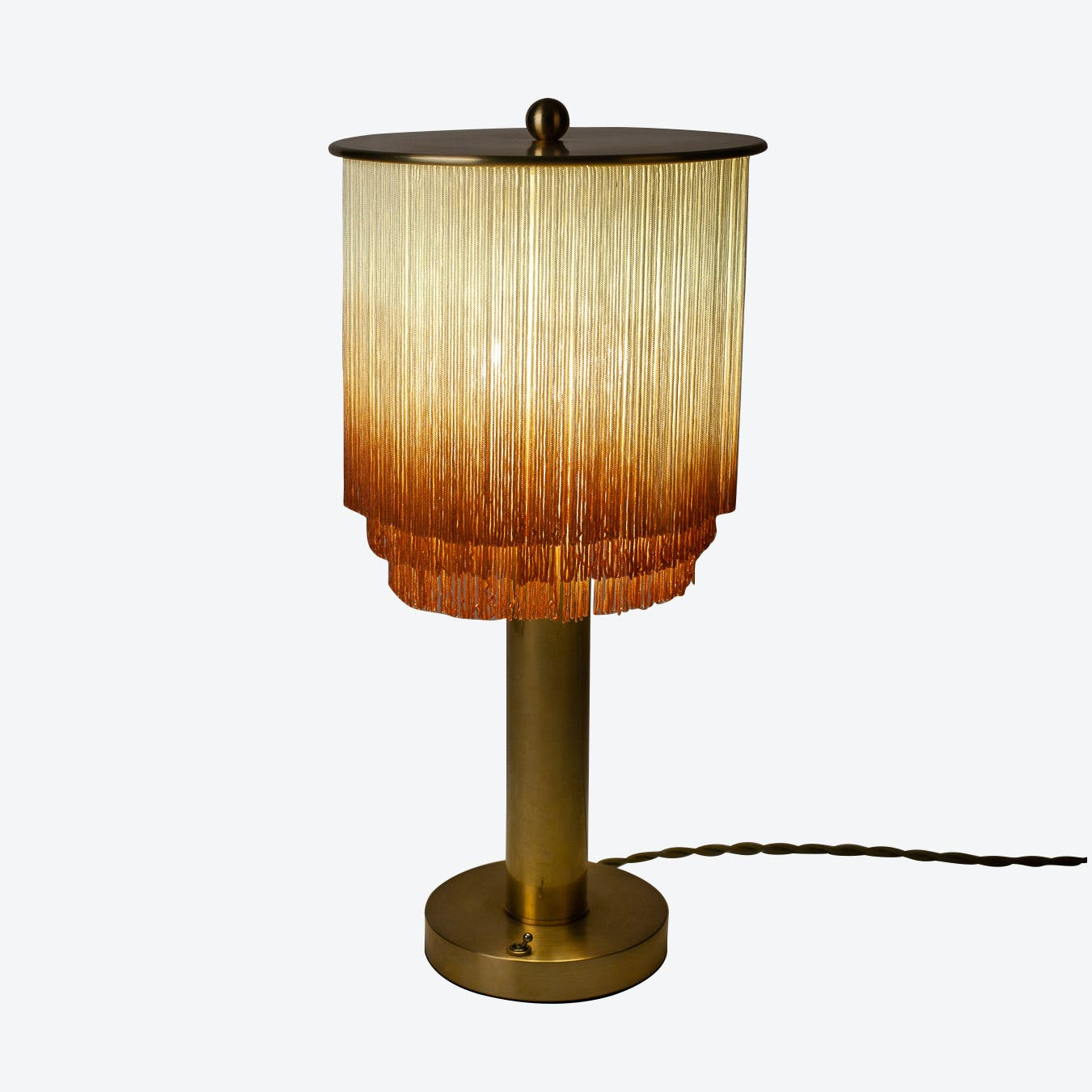 Fringe And Brass Table Lamp Large By Huldra Of Norway Fy