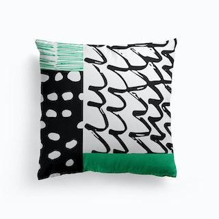 Green Black Abstract Cushion