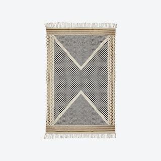 Printed Cotton Rug - Metro - Ecru/Black/Gold