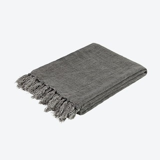 Throw - Linen - Grey - Fringes