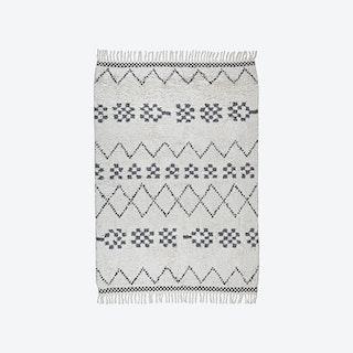 Cotton Rug - Marrakech - Shaggy - Grey/Ecru