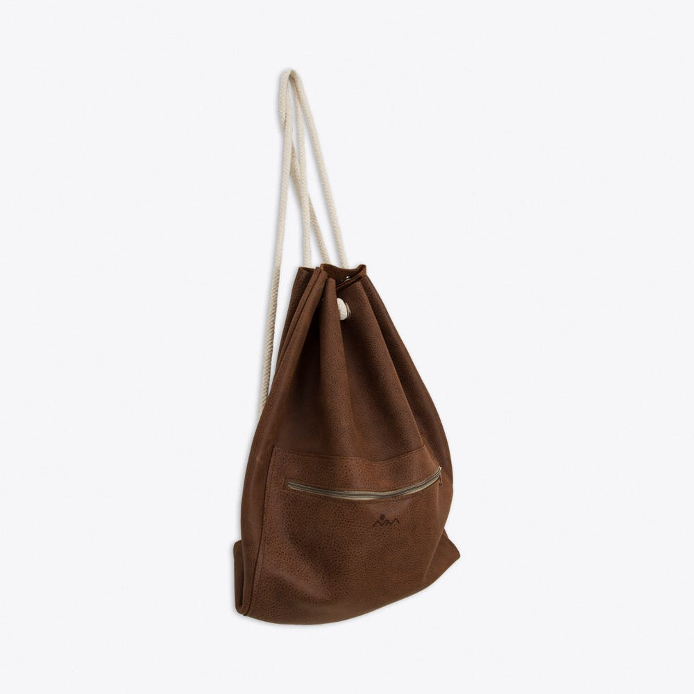 Emil Leather Drawstring Backpack in Brown