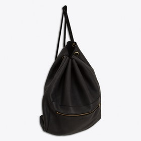 Emil Leather Drawstring Backpack in Anthracite Black