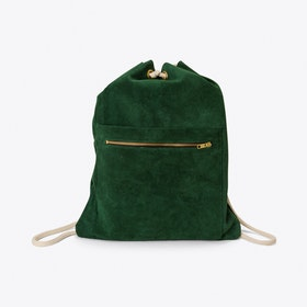 Emil Leather Drawstring Backpack in Green
