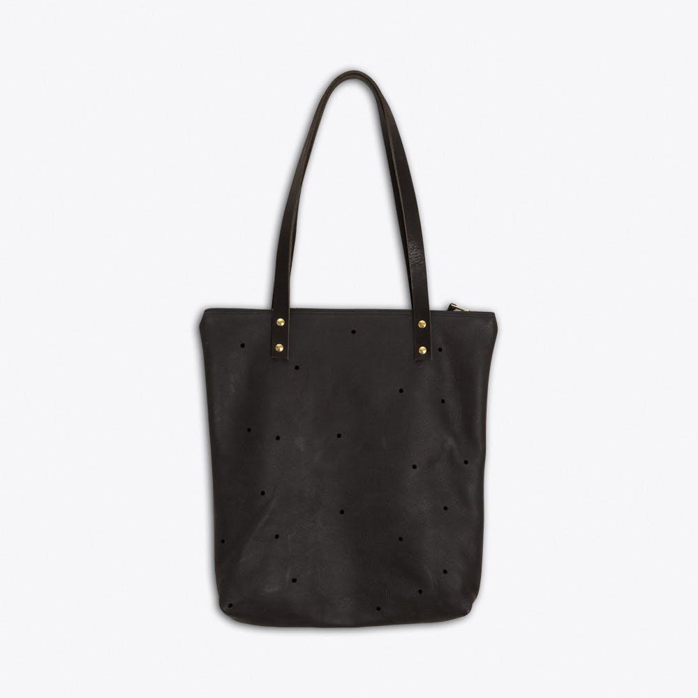 Anton Leather Tote in Anthracite Black