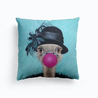 Ostrich With Bubblegum Cushion