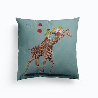 Giraffe With Flowers Cushion