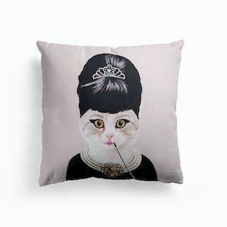 Audrey Hepburn Cat Cushion