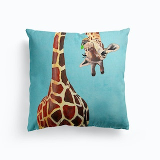 Giraffe With Green Leaf Cushion