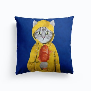 Cat With Fish Cushion
