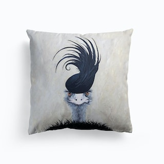 Ostrich With Feather Hat Cushion