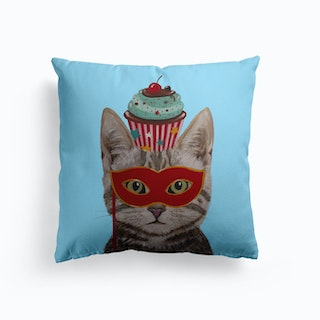 Cat With Cupcake Cushion