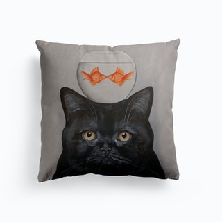 Cat With Fishbowl Cushion