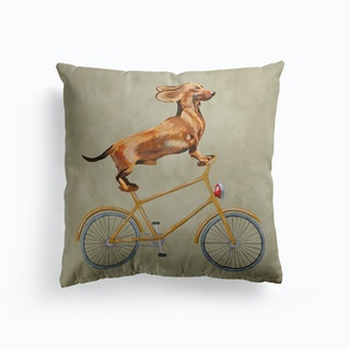 Dachshund On Bicycle Cushion