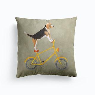 Beagle On Bicycle Cushion