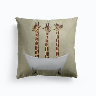 Giraffes In Bathtub Cushion