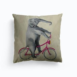 Elephant On Bicycle Cushion