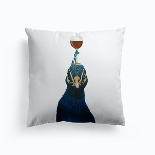 Peacock With Wineglass Cushion