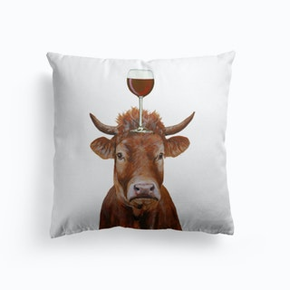 Cow With Wineglass Cushion
