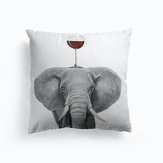 Elephant With Wineglass Cushion