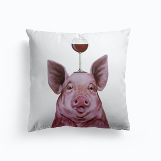 Pig With Wineglass Cushion