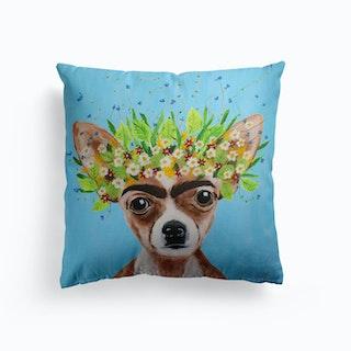 Frida Kahlo Chihuahua Cushion