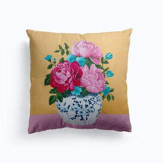 Chinoiserie Vase And Peony Cushion