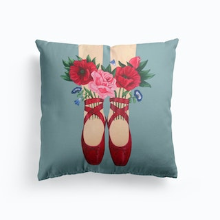 Red Shoes And Flowers Cushion