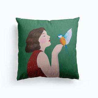 Woman And Bird Cushion