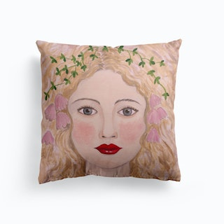 Woman Portrait With Pink Flowers Cushion
