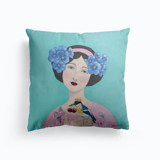 Woman With Bird And Cherry Cushion