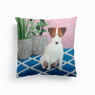 Jack Russell And Plant Cushion