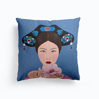 Chinese Woman Holding Flower Cushion
