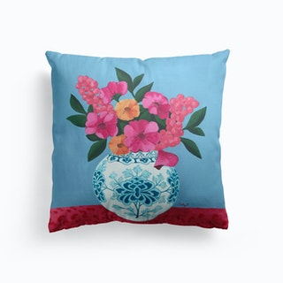 Chinoiserie Vase And Flowers Cushion