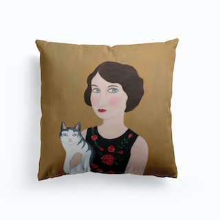 Woman In Rose Dress With Cat Cushion
