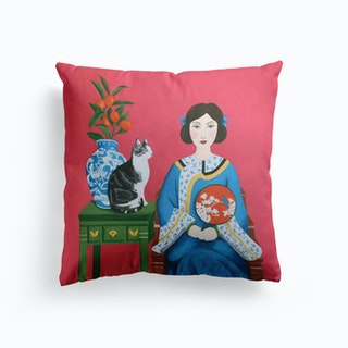 Chinese Woman And Cat Cushion