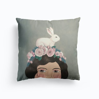 Woman With Rabbit On Top Cushion