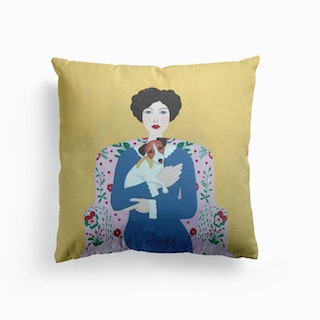 Woman And Jack Russell On Armchair Cushion