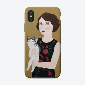 Woman In Rose Dress With Cat Phone Case
