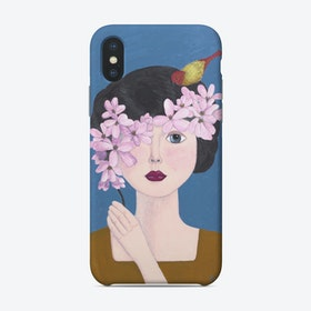 Woman Holding Flowers Phone Case