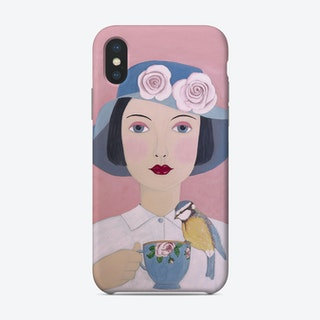 Woman With Teacup And Bird Phone Case