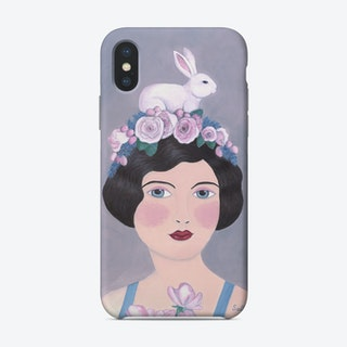 Woman With Rabbit On Top Phone Case