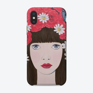 Woman And Red Flowers On Hair Phone Case